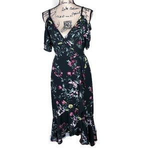 Band Of Gypsies Black Floral Ruffle Dress NWT M